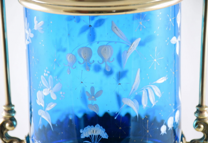 Antieke zuurpot blauw glas gk d 2