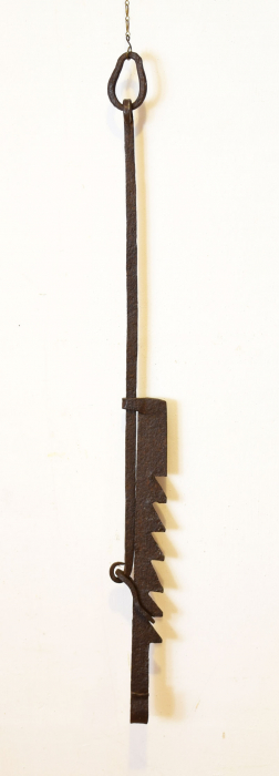 Wrought iron fire place hanger