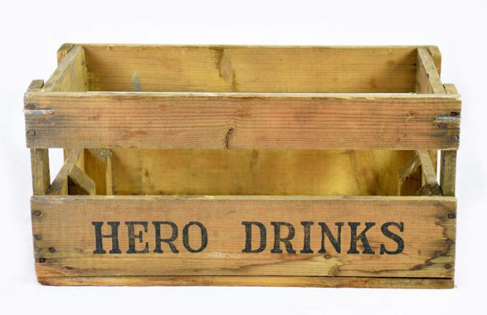 Hero Drinks houten kratje c. r 15