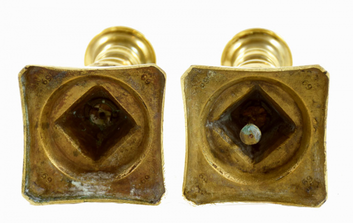 Two brass candelabras tk. k 2