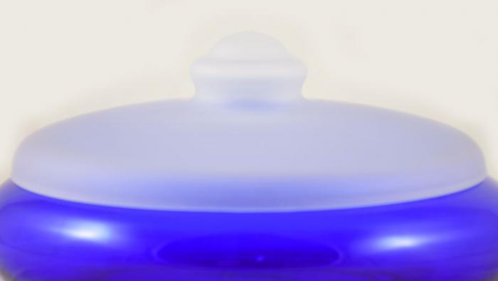 Leerdam koekschaal blauw gk. ld 8