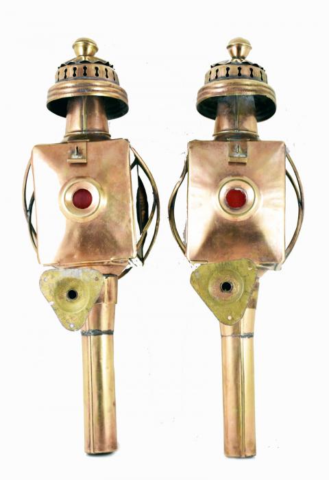 Set of French  brass carriage lantern lights tk. k 10