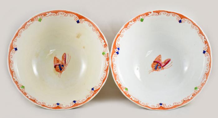 Vijf Mandarin kastkommen ag. k 3