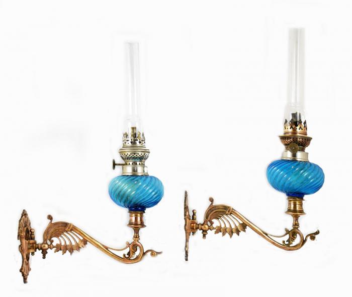 Art nouveau brass wall oil lamp candelabras tk. k 2