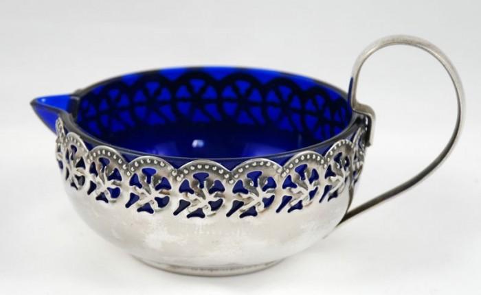 Roomkan met blauw glas  z g. b 4