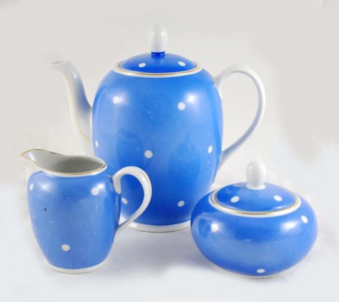 Theeset blauw wit kk. s 10
