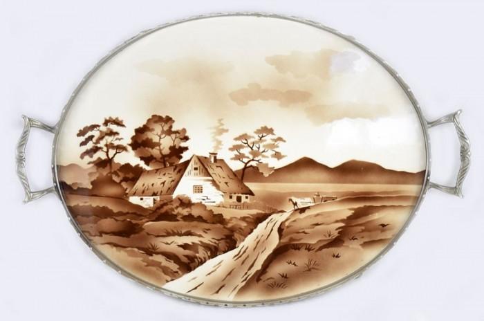 Ovaal dienblad met landschap am. d 7