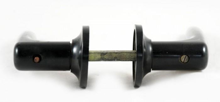 Set deurkrukken zwart bakeliet b. d 9