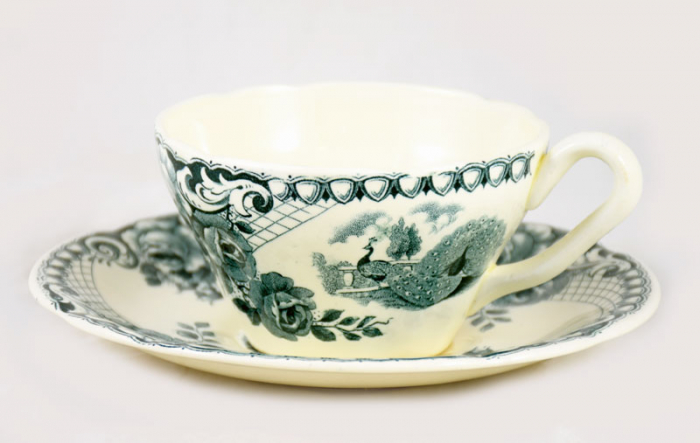 Cup and saucer Peacock ag. d 14