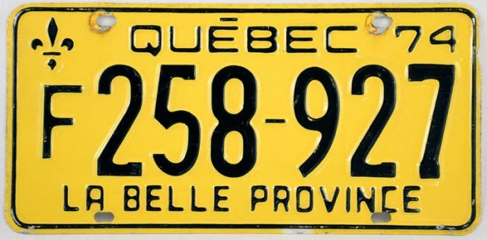 Kentekenplaat Québec c. d 8