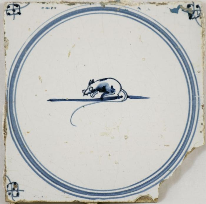 Wandtegel met muis nr. 16