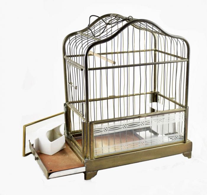 Antieke messing vogelkooi
