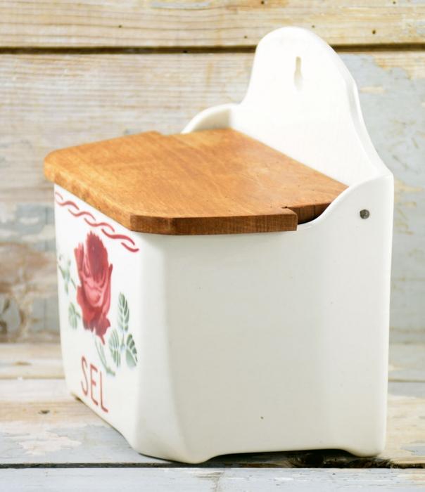 French ceramic Vintage Sel pot kk.k 1